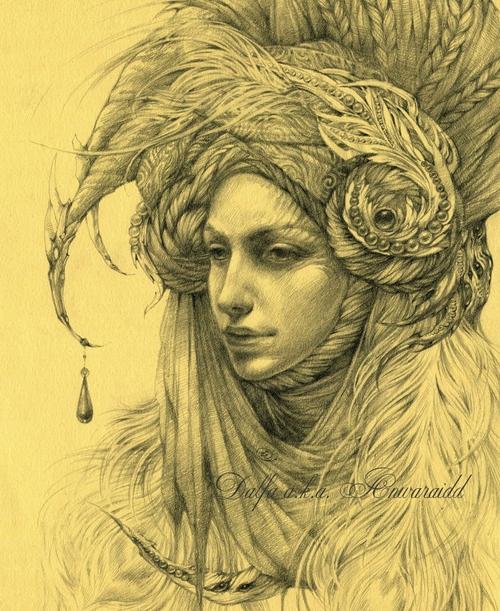 03-Lady-Manticore-Olga-Anwaraidd-Drawings-Fantasy-Portraits-Imaginary-Characters-www-designstack-co