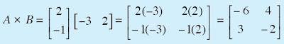 Hasil perkalian dari A × B matriks