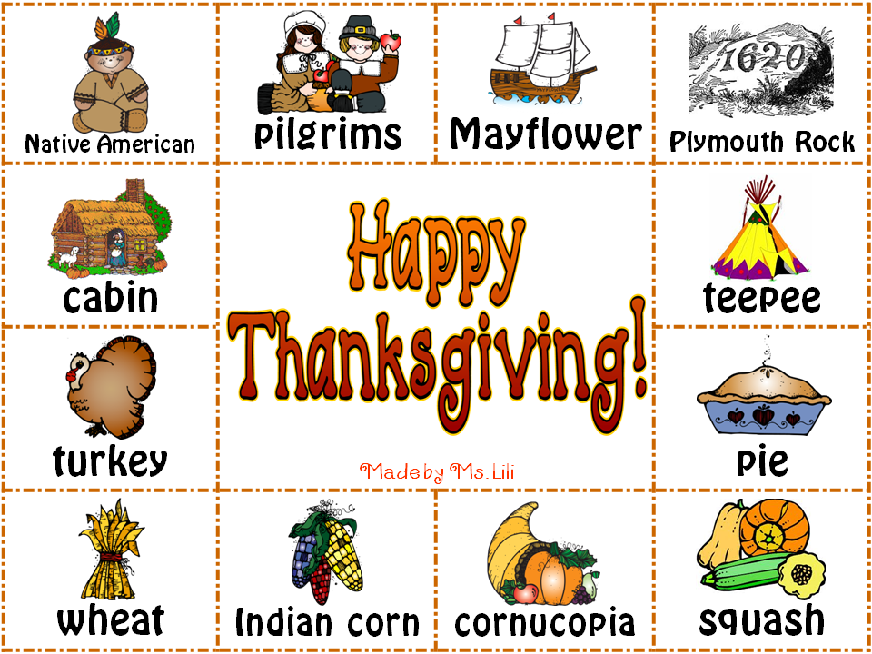 It's Always a Picnic in 4th. Grade: Thanksgiving Words