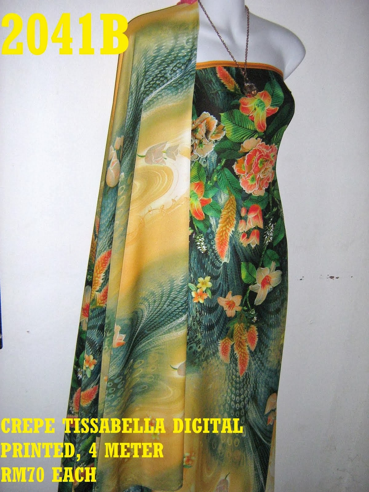 CTD 2041B: CREPE TISSABELLA DIGITAL PRINTED, EXCLUSIVE DESIGN, 4 METER