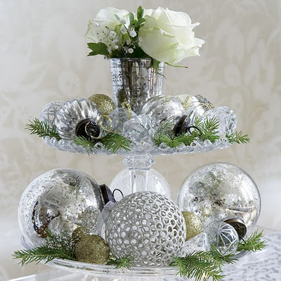 Inspire others decorating for christmas on a budget part i for Silver ornaments for living room