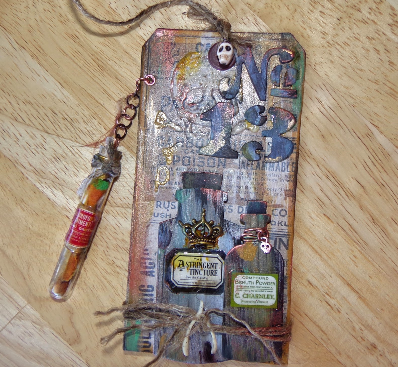 Juju crafts friday the 13th tag using tim holtz tag for Tim holtz craft mat