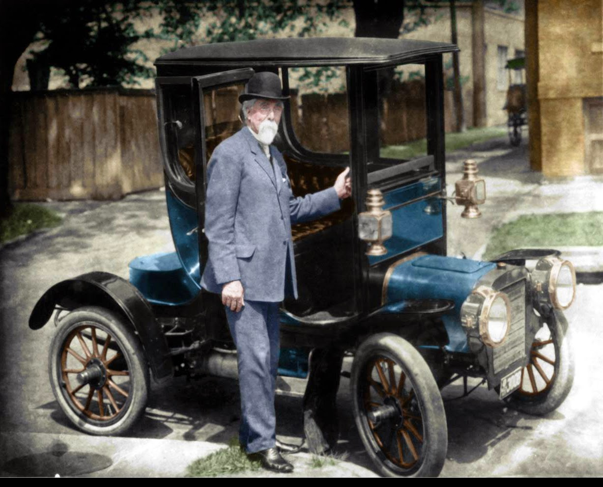 old and unique cars: wood rim and brass era car photos colored by ...