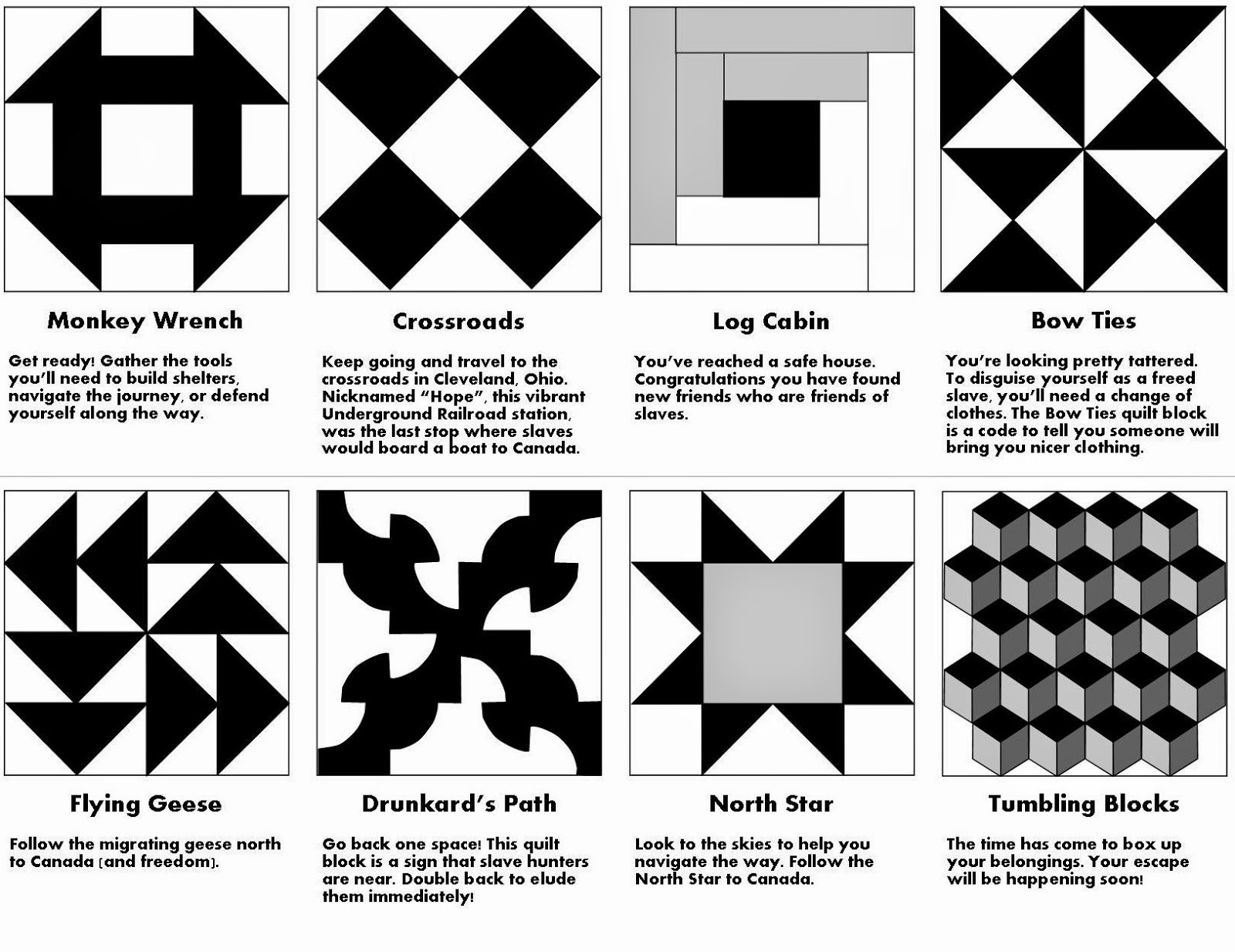 Quilt Patterns Used During The Underground Railroad : Relentlessly Fun, Deceptively Educational: Printable Underground Railroad Quilt Code Game