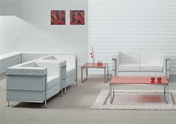 White Leather Lounge Furniture Set