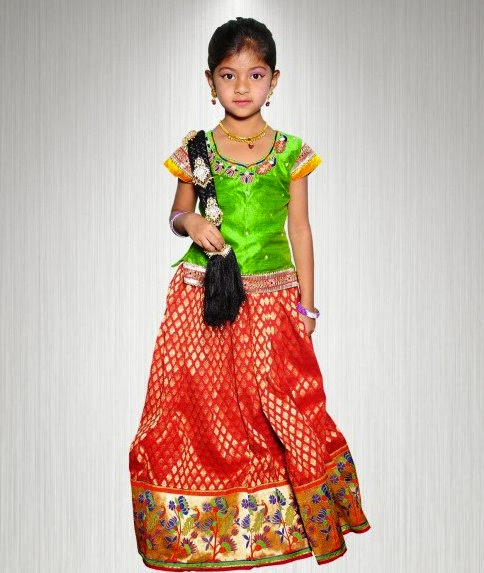 Orange Benaras Kids Skirt
