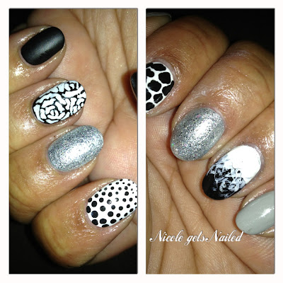 Black White Gray Skittles Nails Nail Art