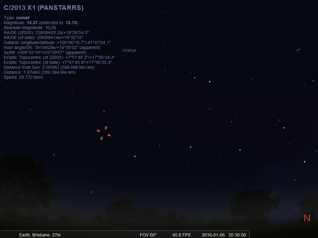 Location of comet c 2013 x1 panstarrs as seen looking north west from adelaide at astronomical twilight and hour and a half after sunset