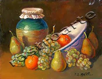 Bodegón con tarro para miel, cuenco de cerámica, uvas, naranjas y peras