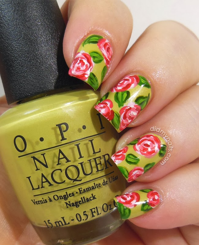 Did My Nails: Strawberry Rose Nail Art