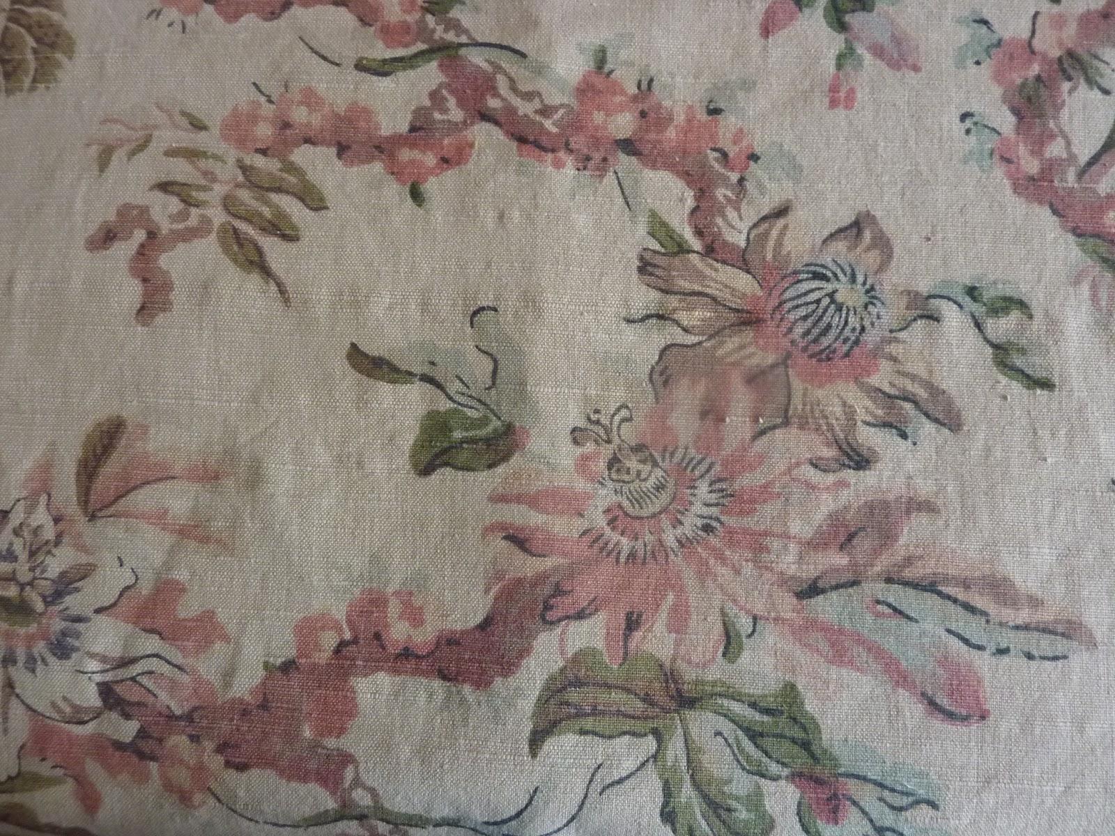 807 magnifique tissu ameublement ancien 19e fleuri - Tissus d ameublement anglais ...