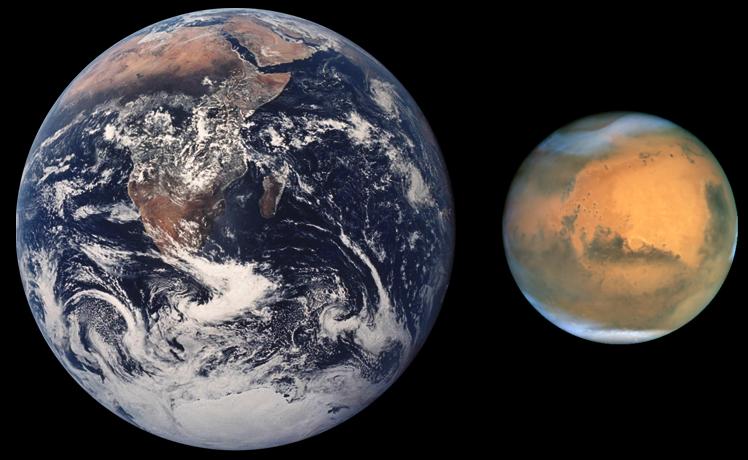 Marte comparado en tamaño con la Tierra