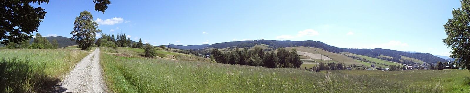 Panorama z drogi z Muszyny na Jaworzynę Krynicką