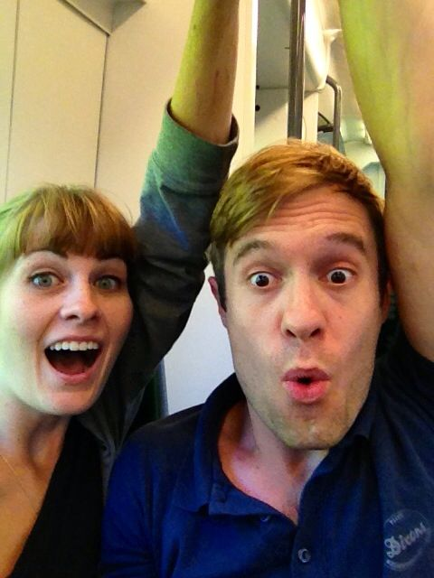 Sam and I on a train