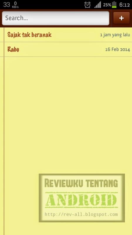 Tampilan utama Simply note versi 1.4.3 - aplikasi Android untuk menulis catatan disertai dengan widget (ulasan oleh rev-all.blogspot.com)