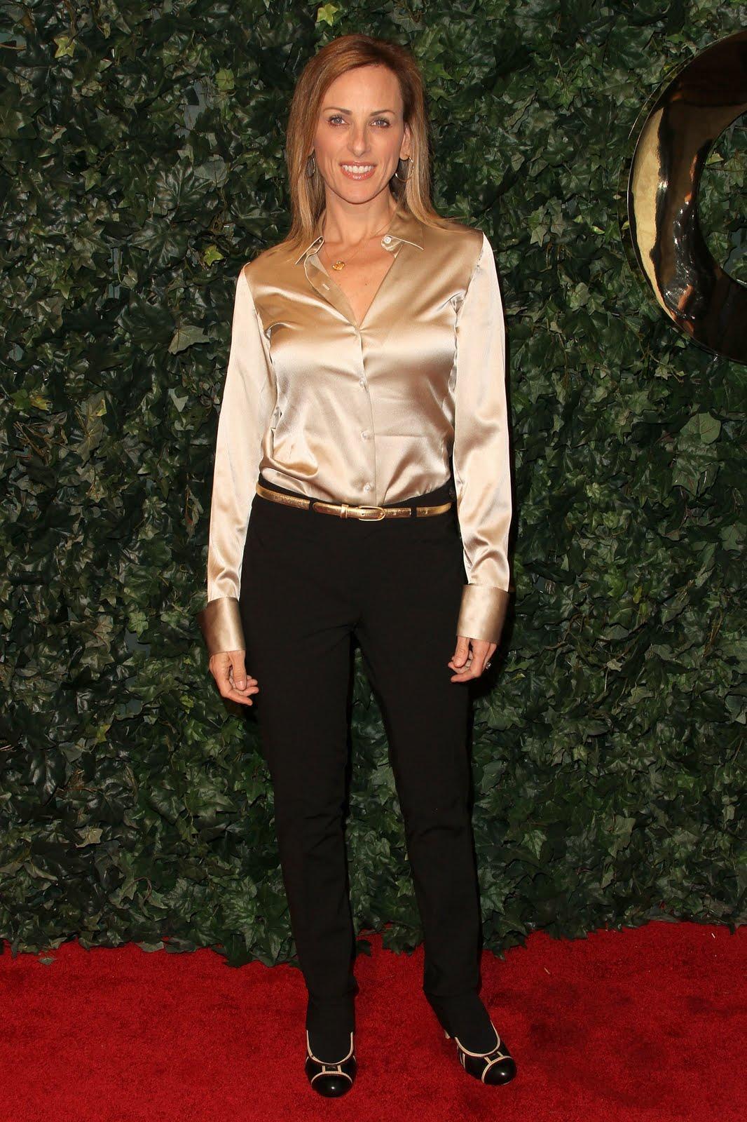dbafbde6 Ladies in Satin Blouses: marlee matlin - gold satin blouse