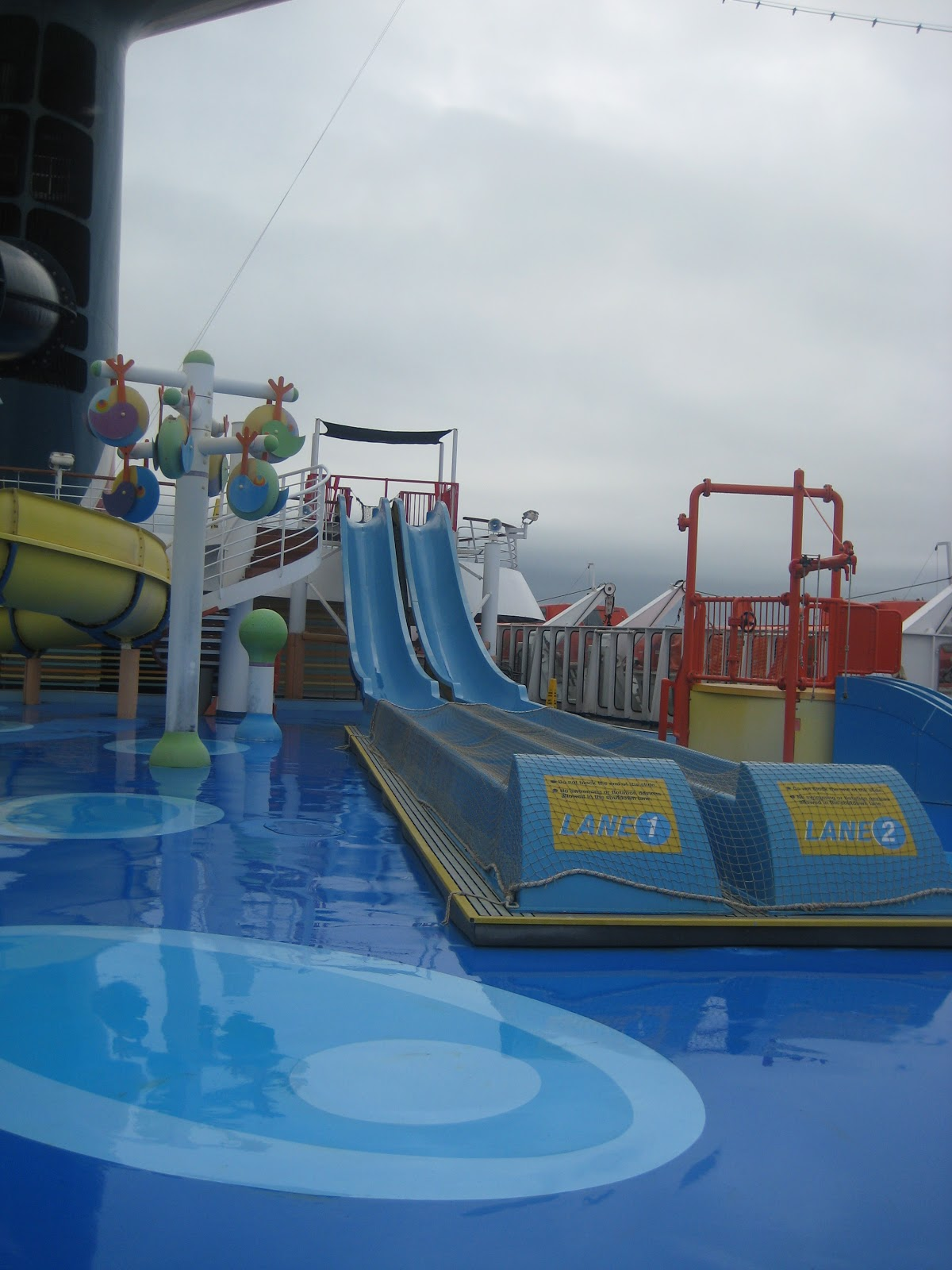 Cruise we do our share of going for a dip and a slide in the pool