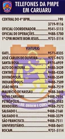 TELEFONE DA POLICIAL MILITAR DE CARUARU