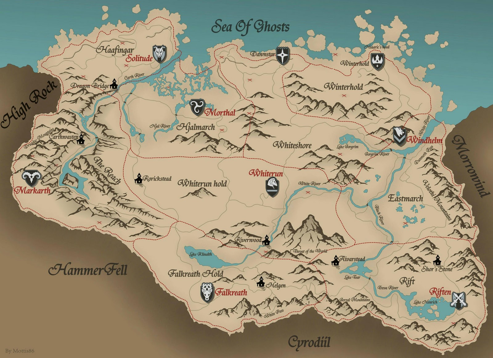 The Elder Scrolls V Skyrim HD map with treasure location
