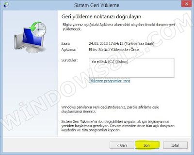 Windows 8 Sistem Geri YÜkleme