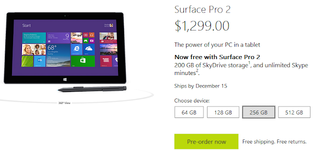 Some Microsoft Surface Pro 2 Models won't ship Until December 15