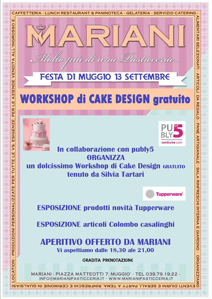 Zuccherosamente workshop gratuito di cake design a muggi for Disposizione seminterrato di design gratuito