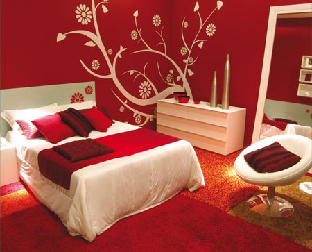 Lovely ... The Bedroom, So The Power Of The Red Is So Strong In These Bedrooms.  Then, The Furniture Design Can Be Combine With The White Or Black.