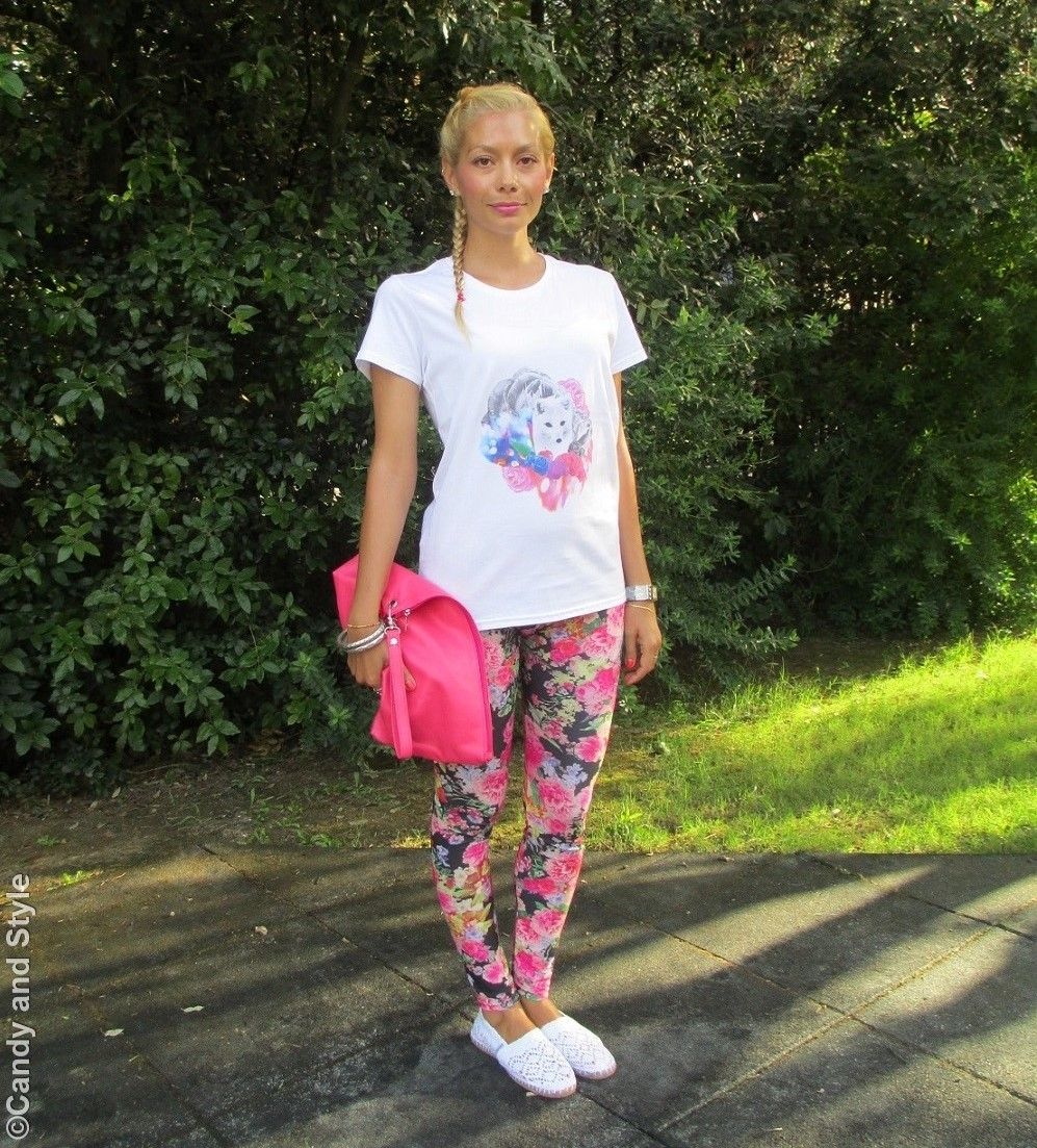 Candy Colors Look: Floral Leggings and Lace Espadrilles - Lilli Candy and Style Fashion Blog