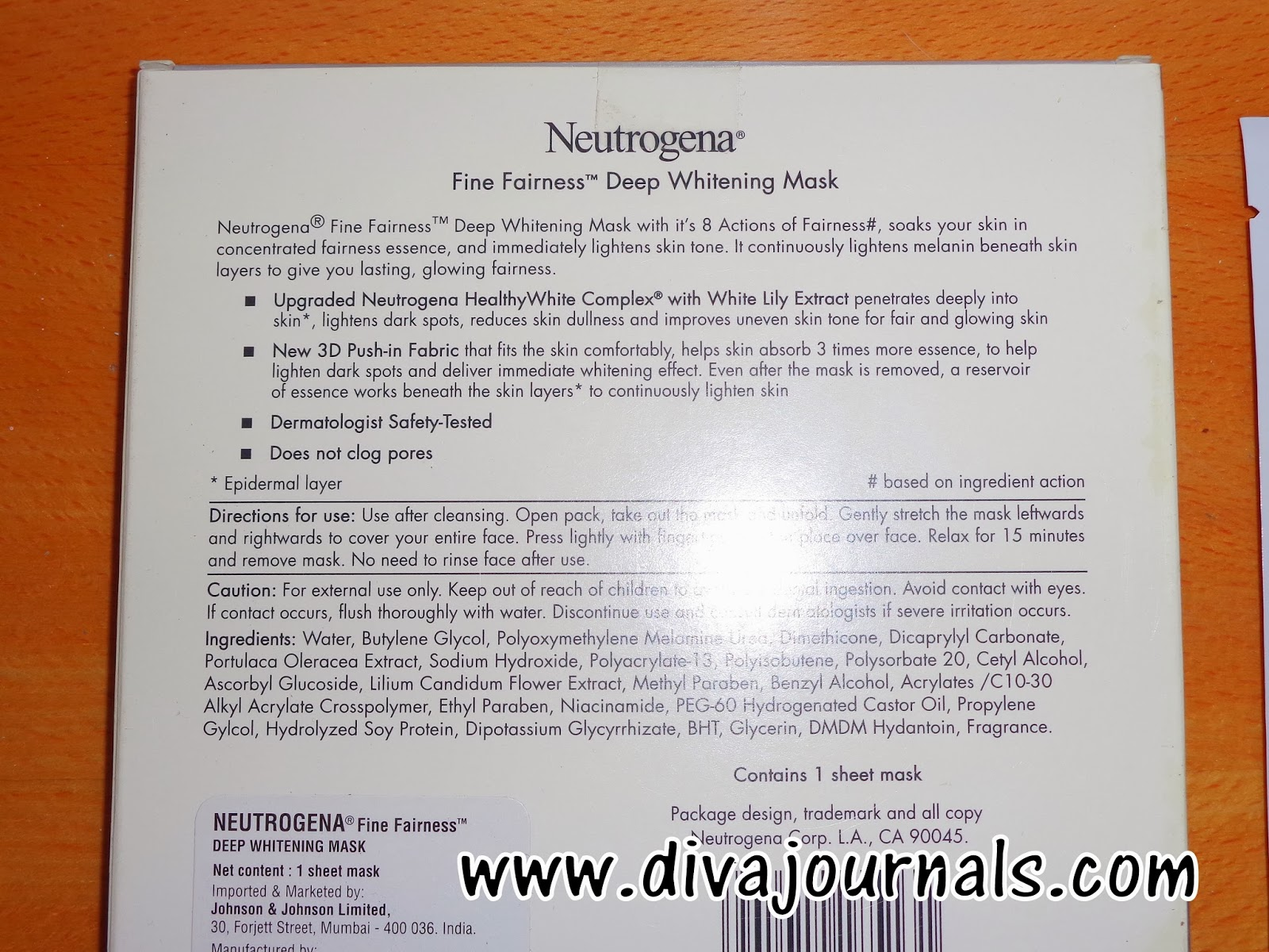 Neutrogena Fine Fairness Deep Whitening Mask Review