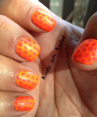 Neon Orange Polka Dots Tone on Tone Manicure