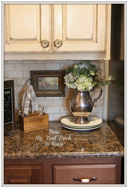 French Farmhouse Kitchen-Kitchen vignette-French Country Kitchen- Two tone kitchen cabinets-Annie Sloan Old Ochre Chalk Paint