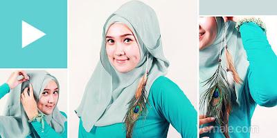 Cara Memakai Jilbab Segi Empat Kontemporer