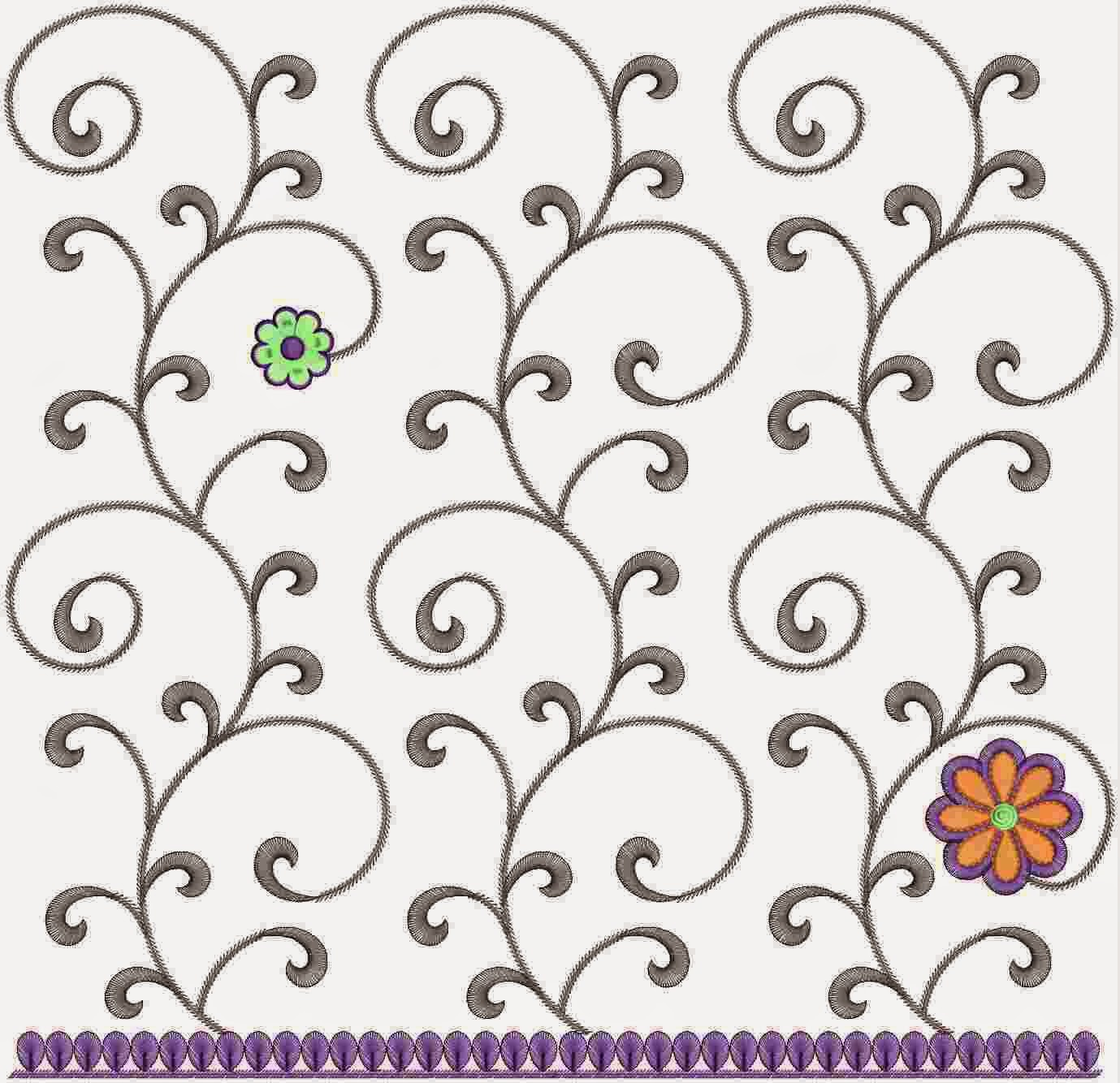 blomme borduurwerk Dupatta