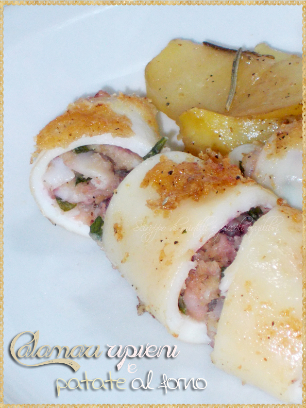 Calamari ripieni e patate al forno
