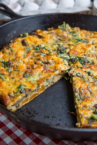 Butternut Squash, Mushroom, Sausage and Kale Frittata