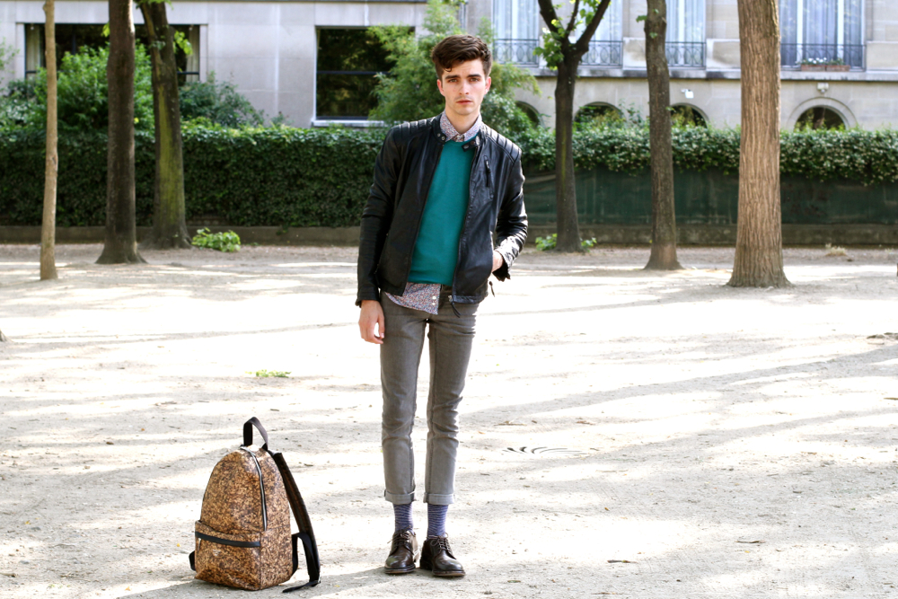 BLOG-MODE-Homme_preppy-nerd_skinny_royalties-chaussettes_sac-liège_pull-Montagut_veste-biker_Promod_chemise-paul-and-joe_mensfashion3