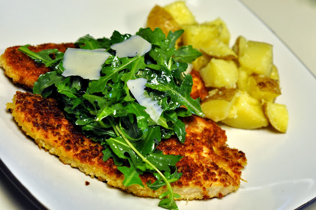 Panko-Crusted Turkey Cutlets with Arugula and Parmesan | Taste As You Go