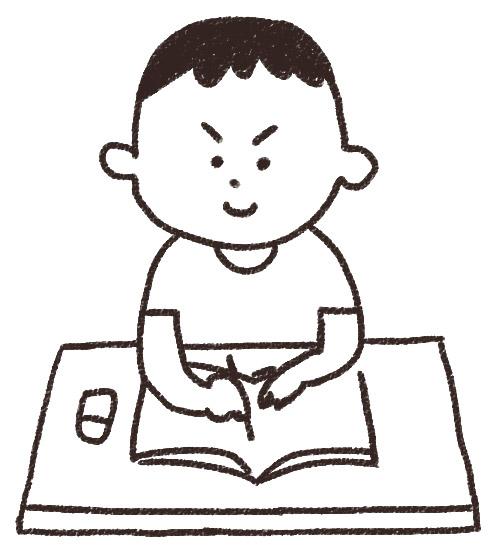 勉強をする男の子のイラスト ... : 暑中見舞い 小学生 : 小学生