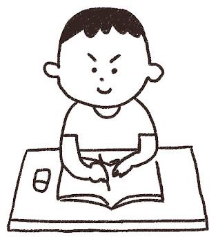勉強をする男の子のイラスト「夏休みの宿題」線画