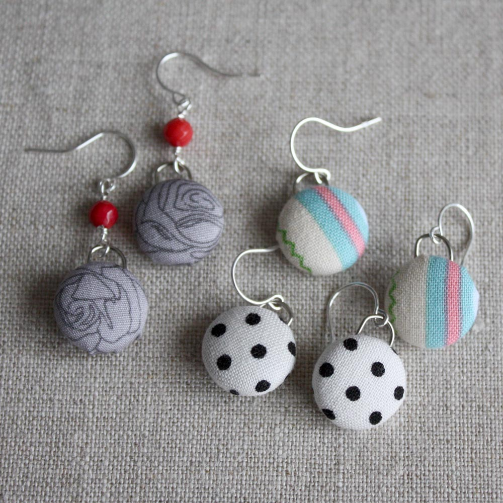 How To Make Book Cover Earrings : Diy fabric button earrings by amy cornwell info gadgets