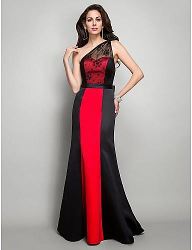 gaun malam merah hitam