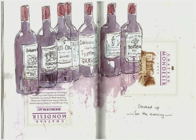Wine bottles watercolour, ink and collage