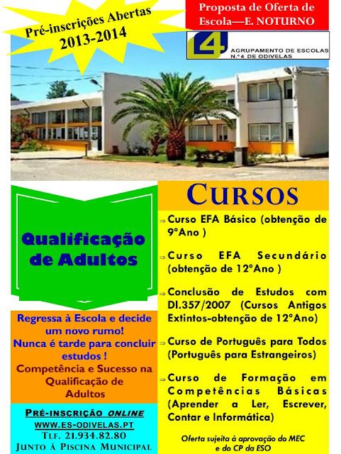 Cursos EFA básico (9º ano) e secundário (12º ano) em Odivelas (inscrições 2013 / 2014)