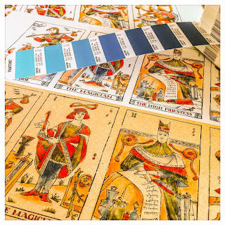 Cards Print Proofs - Curio & Co. Tarot - Colored illustration - In the spirit of the Marseille tarot  - design and illustration by Cesare Asaro - Curio & Co. (Curio and Co. OG - www.curioandco.com)
