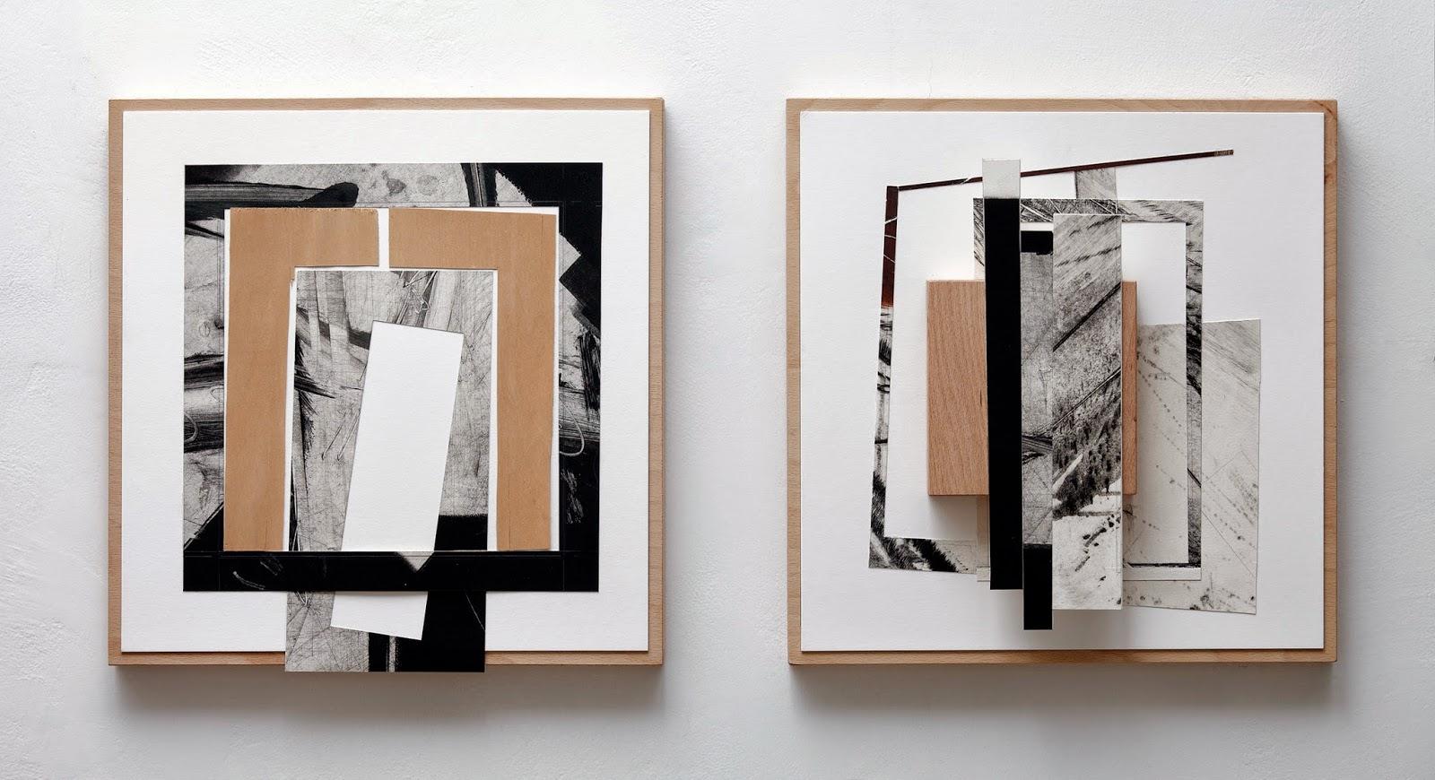 Kuno Lindenmann, O.T. GR 20/41 Radier- und Holz-Collage, 40 x 90 cm, 2011