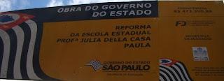 Governador Alckmin gasta R$ 500 mil em piso de escola Escola Estadual Professora Julia Della Casa Paul e entrega reforma incompleta na Cidade  Ademar