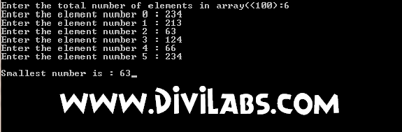 C / C++ Program to find the Smallest number from the array of integers: Output