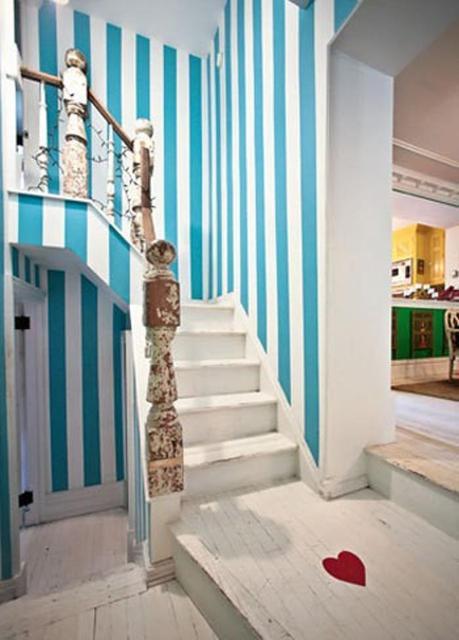 Pintura de paredes rayadas estira tu casa cocinas - Paredes a rayas verticales ...