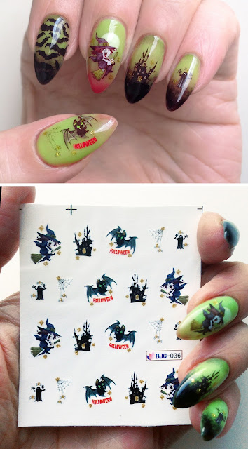 Water nail decal Halloween Witch Bat Spooky Haunted Scary Design Art BJC 036 Born Pretty Store Review