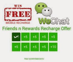 here you get free  recharge offers .Wechat is back with another Wereward offer for the month of july 2015 , you get free online  recharge